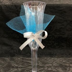 Turquoise Mis XV Anos Cups 14 plastic 2 pc glass